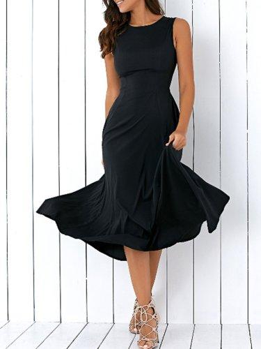 Black A-line Pockets Sleeveless Elegant Crew Neck Dress