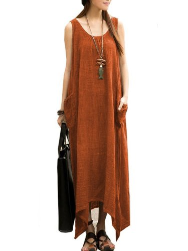 Round Neck  Asymmetric Hem Patch Pocket  Plain Maxi Dress