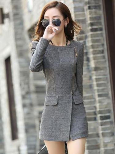 Woolen Blend Coat Slim Wool Coat Cashmere Outwear