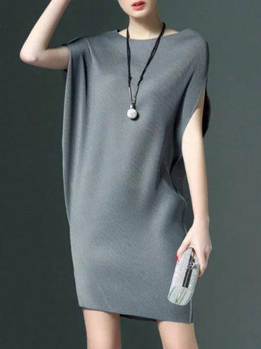 Round Neck  Plain Women Shift Dress