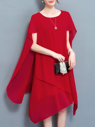 Elegant Cape Sleeve Asymmetrical Plus Size Dress