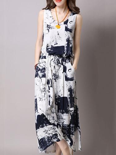 Fashion Casual Drawstring Printed Two-Piece Maxi Dress