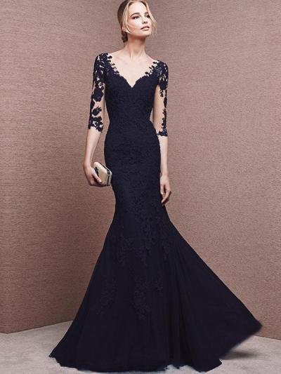 Lace Contrast O-Neck Sleevesless Sheath Long Evening Dresses