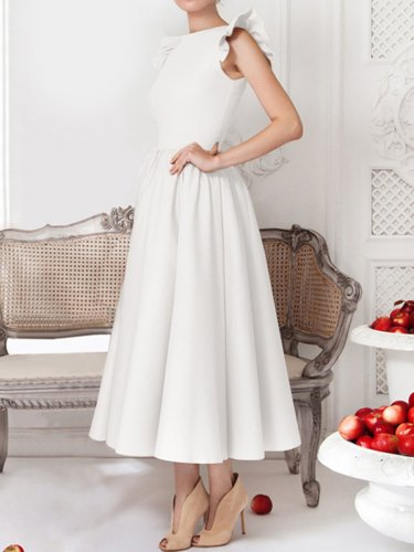Woman Round Neck Flounce Plain Evening Dress