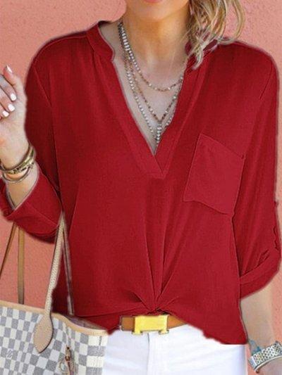 V Neck Plain Pocket Roll-Up Sleeve Blouses With Pockaet
