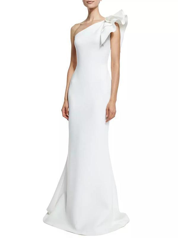 One-shoulder Falbala Sleeve Evening Dress