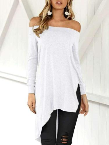 Sexy Off shoulder Long sleeve Irregular T-Shirts