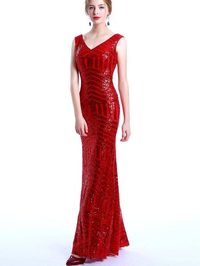 Autumn New Paillette Fashion Evening Dresses
