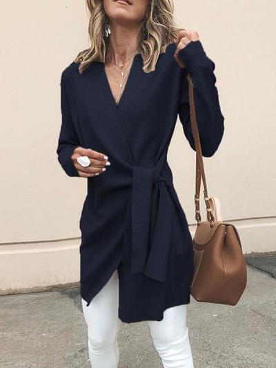 V Neck Belt Plain Outerwear Woman Fashion Coat