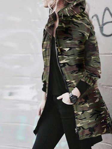 Hooded Camouflage Fishtail Hem Jacket
