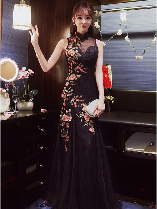 Embroidered Mermaid Cheongsam Evening Dress
