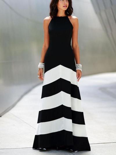 Striped Stitching Slim Sexy Evening Dress