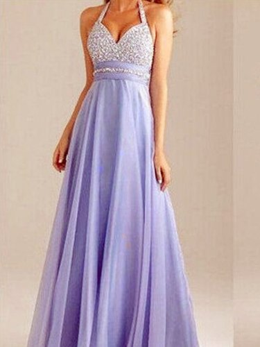 Purple Sexy Halter Beaded Backless Party dress Evening Dress