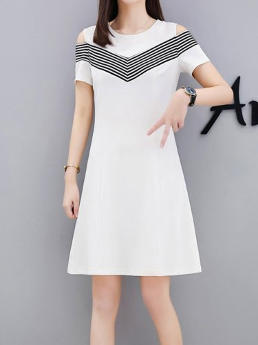 Round Neck  Color Block  Raglan Sleeve Shift Dress