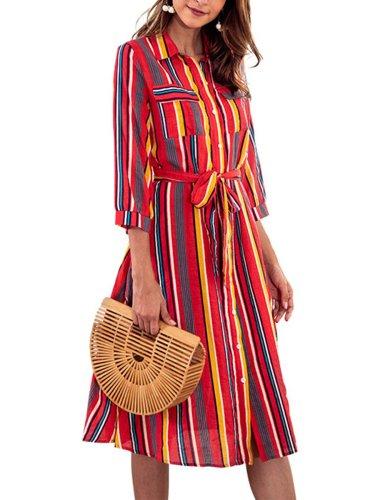 Colorful Strip Print Casual Woman Shift Dress