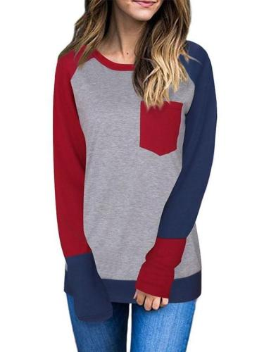 Round Neck  Patchwork  Color Block Long Sleeve T-Shirts