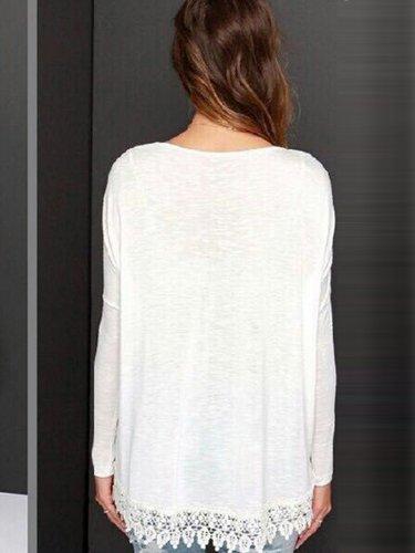 Round Neck Basic White Woman Daily T-shirts