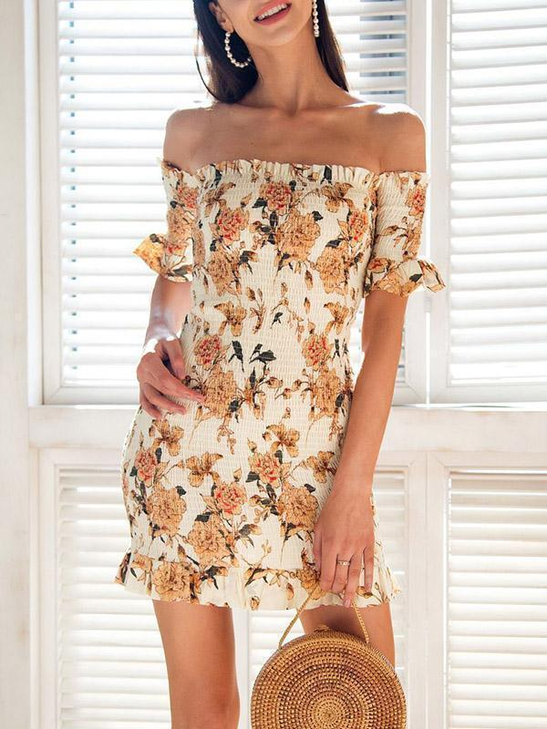 Off-the-shoulder Printed Bodycon Mini Dress