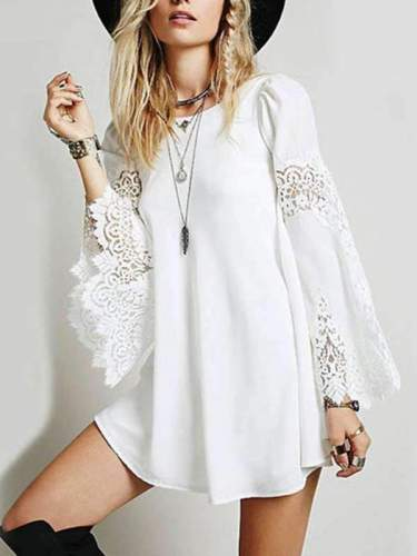 Round -Neck  Loose Long Bell Lace Sleeve Casual Dress