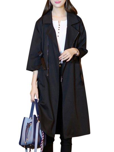 Fold-Over Collar  Drawstring  Plain  Half Sleeve Trench Coats