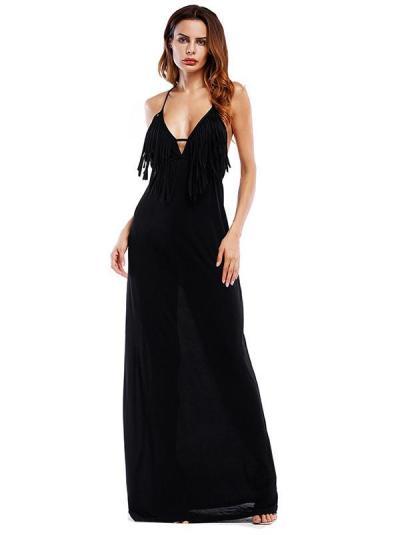 Spaghetti Neck Tasseled Backless Evening Dress