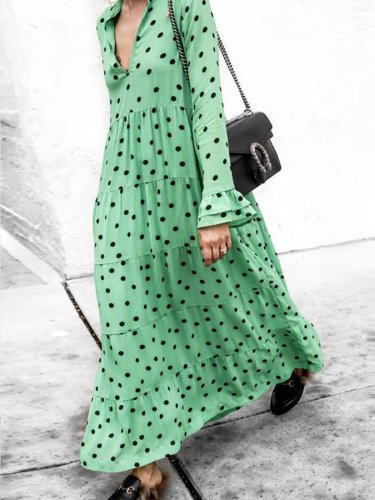 Long Sleeve Chic Woman Point Maxi Dress