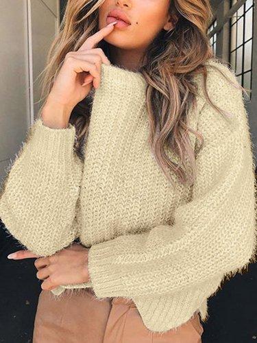 Round Neck Long Sleeve Wave Hem Knitting Sweaters