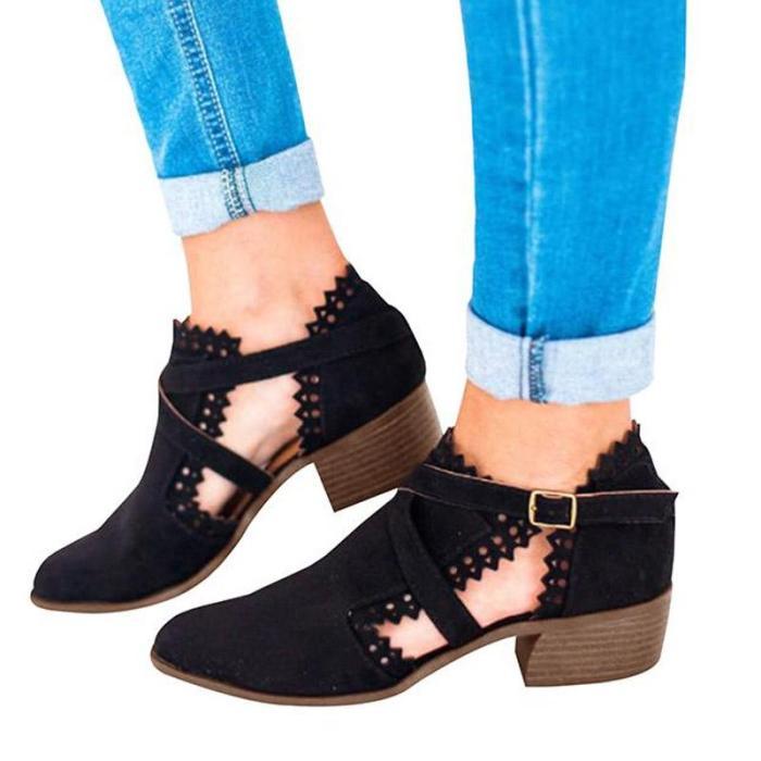 Autumn Suede Carved Rhinestone High Heel Stylish Short Boots