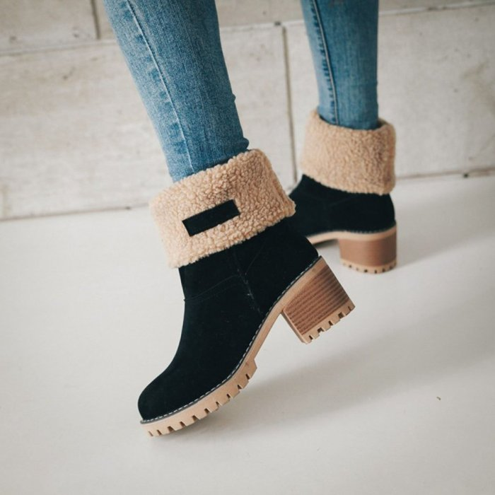 Plain Chunky Mid Heeled Date Ankle Boots