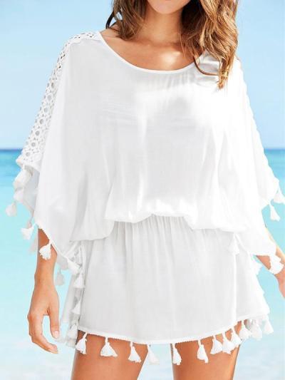 Tassels Hollow Sleeves Elastic Waist Beach Cover-Ups