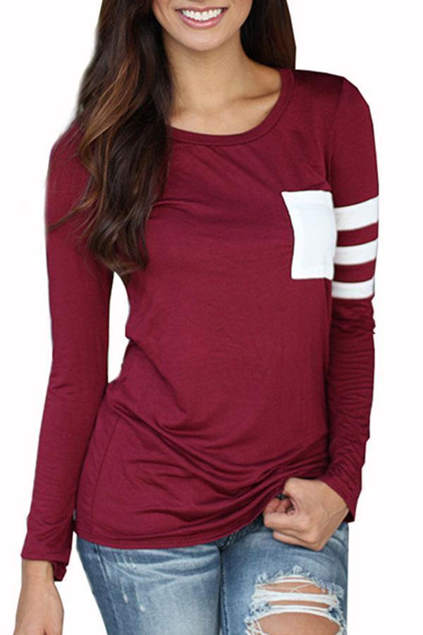 Round Neck  Patchwork  Color Block T-Shirts