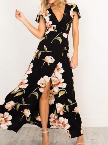 Floral-Print Deep V Maxi Dress