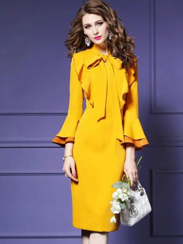 Woman Solid Color Sashes Bowknot Zipper O-Neck Long Flare Sleeves Bodycon Dresses