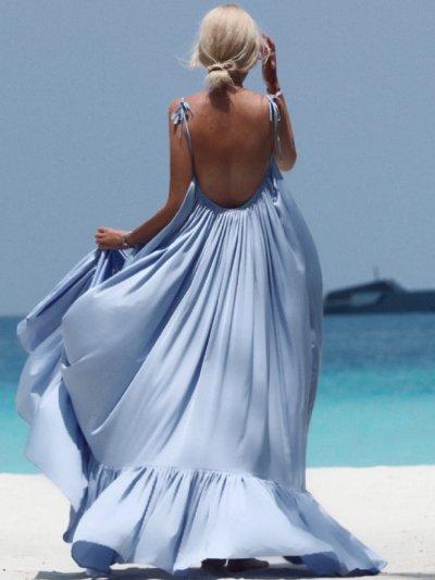 Hot Sale Sexy Sleeveless Condole Belt Backless Vacation Dress