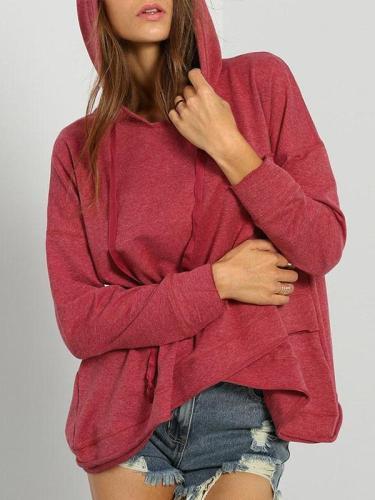 Hooded Long Sleeve Asymmetrical Hem Hoodies