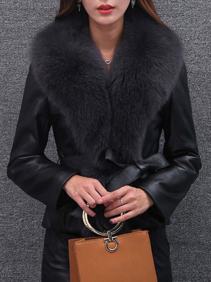 Faux Fur Collar Elastic Waist Plain PU Leather Jacket
