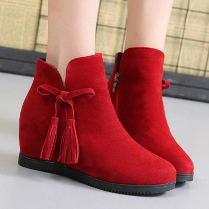 Plain  Invisible  High Heeled  Velvet  Round Toe  Outdoor Ankle Boots