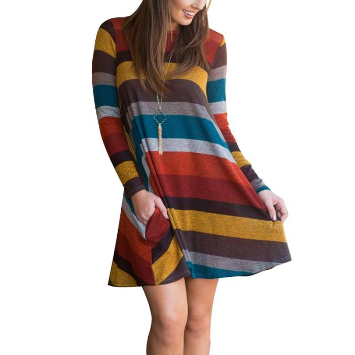 Women Casual Striped Color Patchwork Loose Long Sleeve Shift Dress