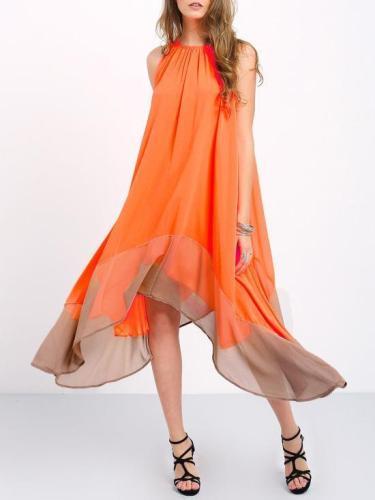Falbala Chiffon Halterneck Sleeveless Midi Dress