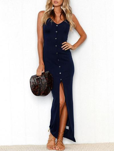 Solid Color Condole Belted Maxi Dress