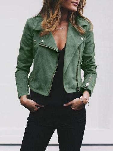 Fold Over Collar  Zipper  Plain Jackets For Woman