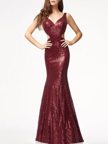 V-back Sequined Mermaid Floor Evening Dress