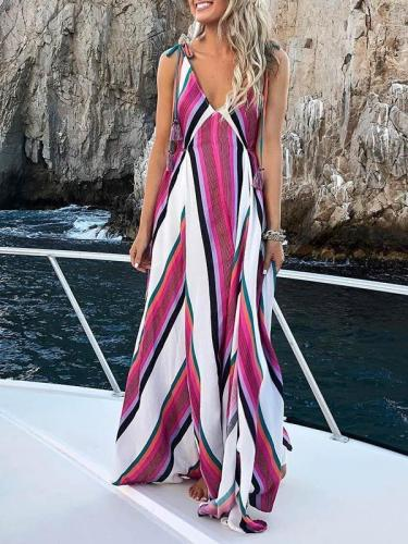 Deep V-neck Striped Bohemia Maxi Dress
