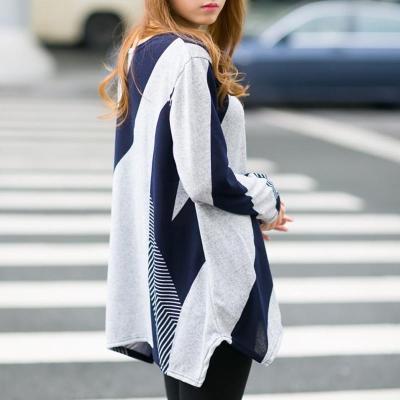 Round Neck Geometric Pattern Loose T-Shirt