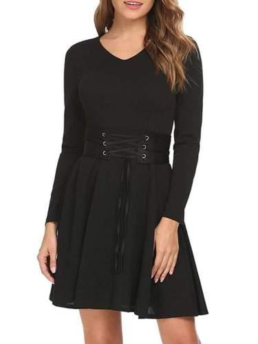 Black Long Sleeve Sexy Woman Skater Dresses