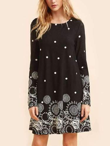 Printed A-Line Round Neck Long Sleeve Casual Dress