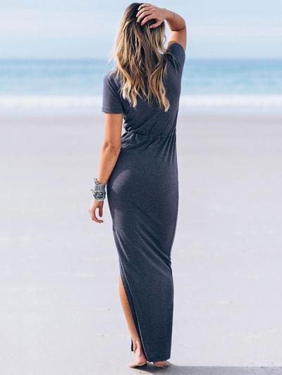 Solid Color Split-side Maxi Dress