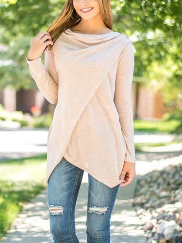 Long Sleeve Plain Asymmetrical T-Shirts