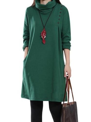 Turtle Collar Long Sleeve Women's Dress