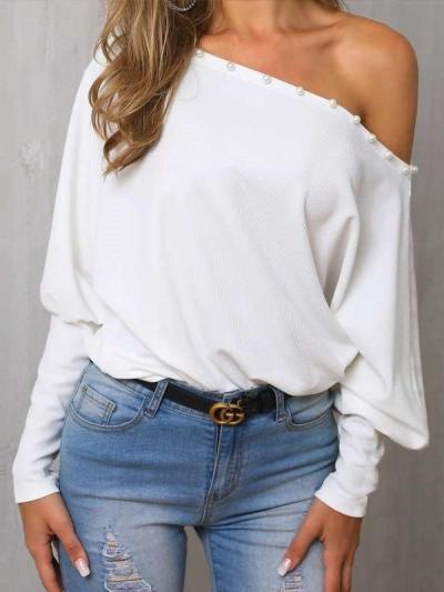Casual Pure Color Word Collar Batwing Sleeve T-Shirt
